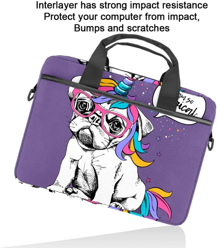 Puppy Bulldog Costume of a Unicorn Laptop Case Canvas Pattern Briefcase Sleeve Laptop Shoulder Messenger Bag Case Sleeve for 13.4-14.5 inch Laptop Briefcase