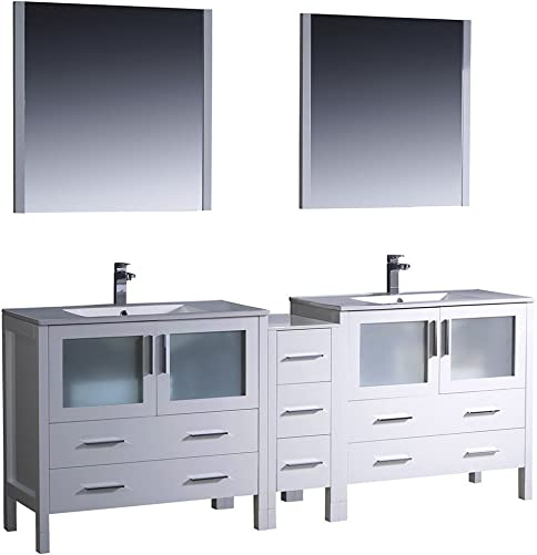 Fresca Bath FVN62-361236WH-UNS Torino 84 Double Sink Vanity with Side Cabinet and Sinks, White