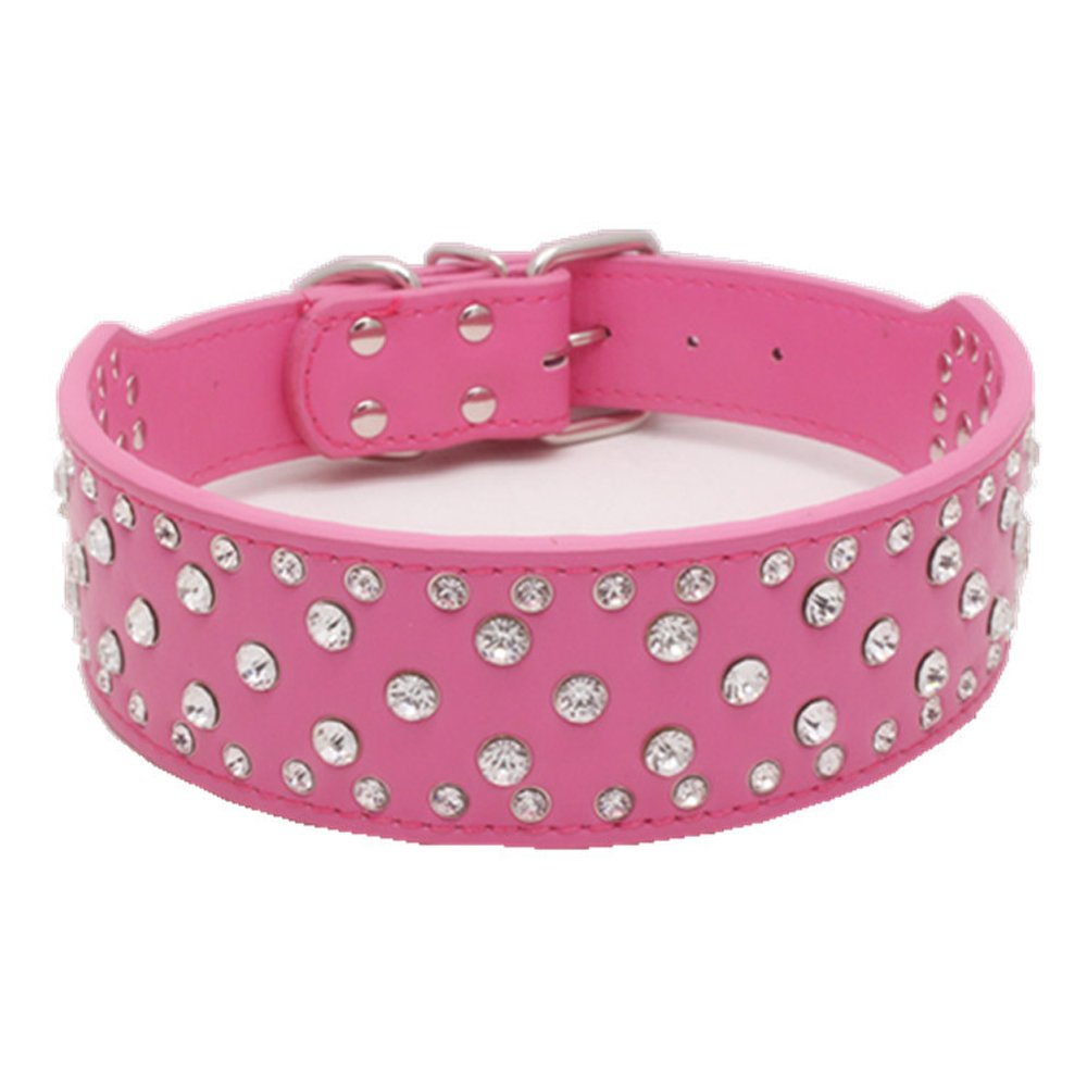 Dogs Kingdom 20''-26'' Length Fashion Jeweled Rhinestones Pet Dog Collars Sparkly Crystal Studded Leather Collar for Small Medium and Large Dogs Pitbull Rose Red L by Dogs Kingdom (Image #1)