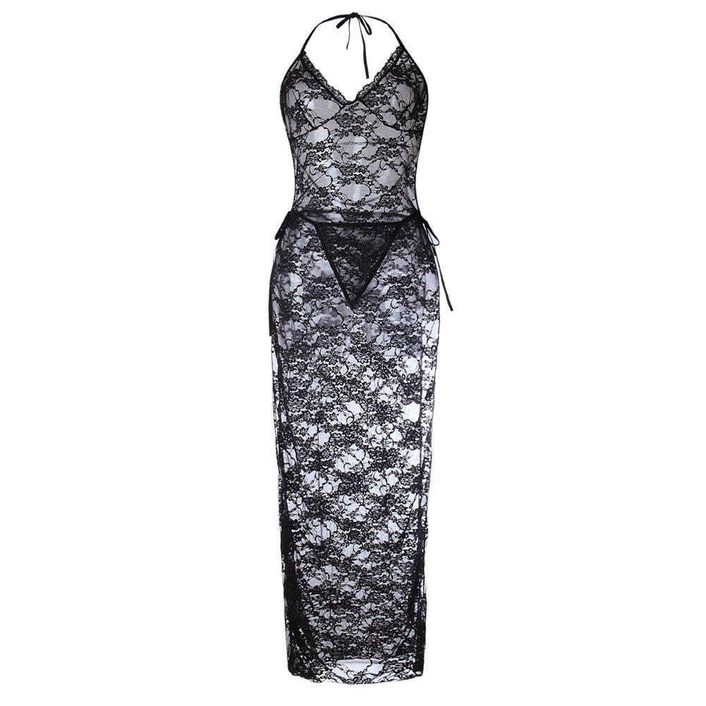 LamourLove Women\'s Lingerie Plus Size Halter Black Lace Sexy Robe High Split Long Gown Dress Set(X-Large)