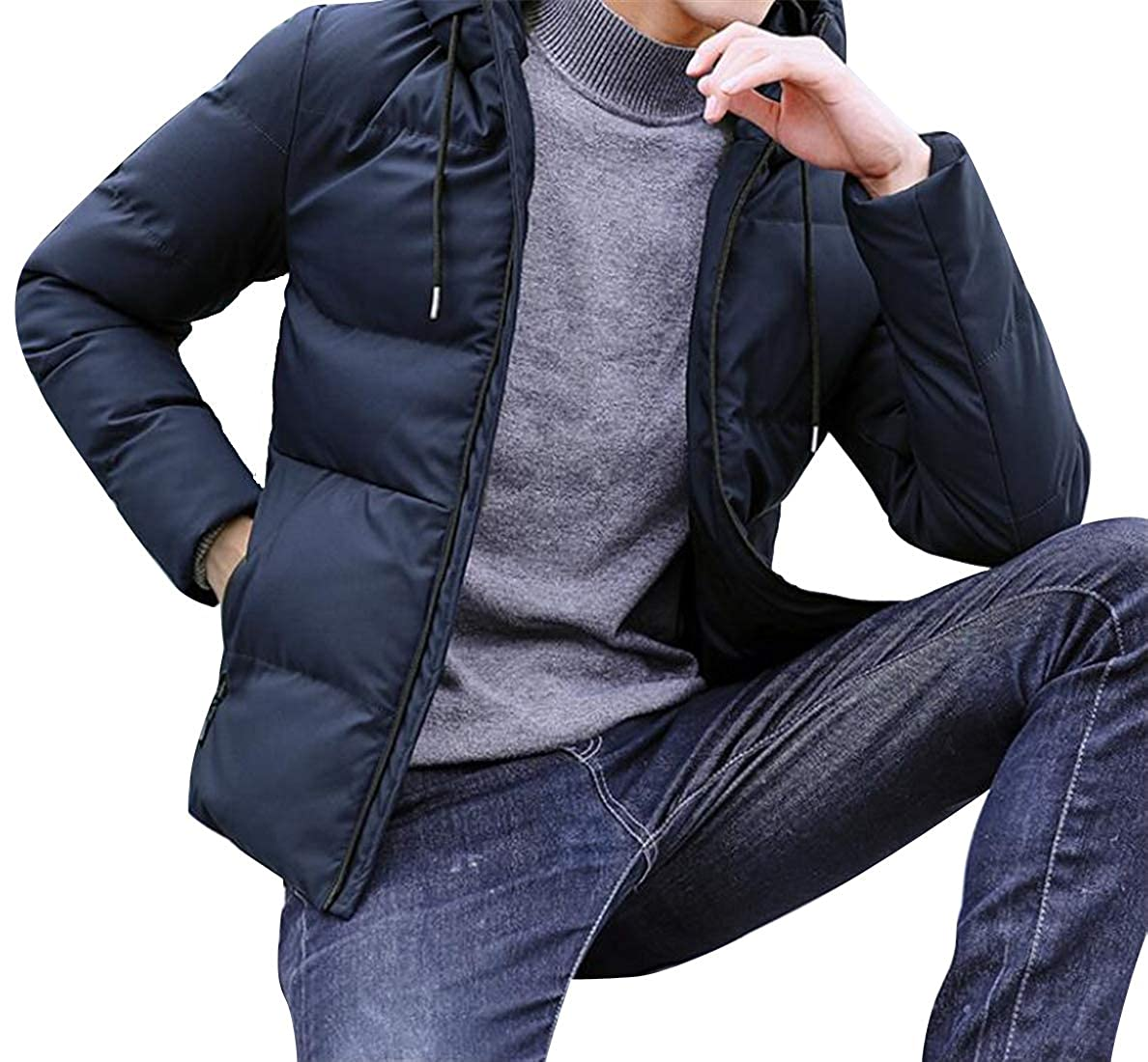 BOBOYU Mens Thicker Zip Up Slim Hooded Solid Down Quilted Puffer Jacket Coat Outerwear