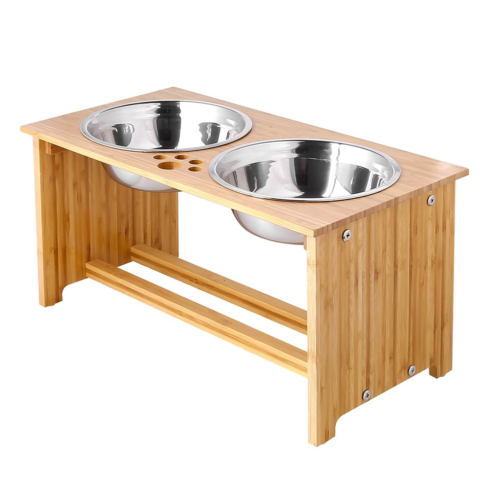 FOREYY Raised Pet Bowls for Medium and Large Dogs, Bamboo Elevated Dog Cat Food and Water Bowls Stand Feeder with 2 Stainless Steel Bowls and Anti Slip Feet (New 10'' Tall) by FOREYY