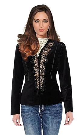 Reba Women's Velvet Jacket Blazer Black Gold at Amazon Women's ...