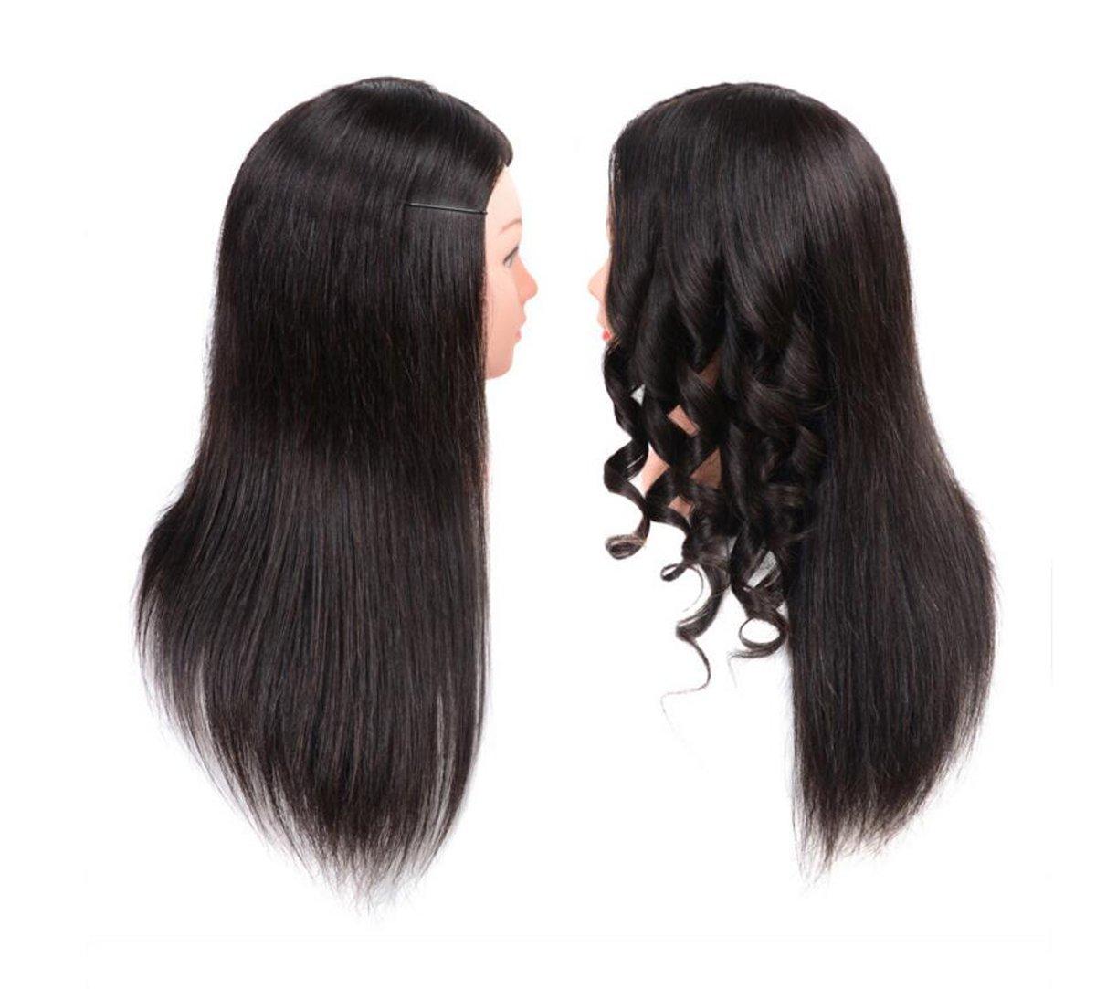 Aozzy Training Head Peluquería 100% cabello humano real Cosmetology Peluquería Maniquí Manikin Head (abrazadera de mesa incluido) (marrón)