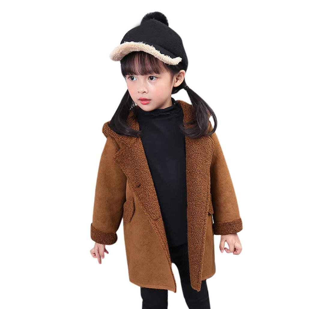 HOMEBABY Baby Girls Winter Hooded Coat, Kids Girl Clothes Dog Warm Thick Coat Cashmere Jackets Trench Cardigan Outwear Christmas Gift For 3-7 Years