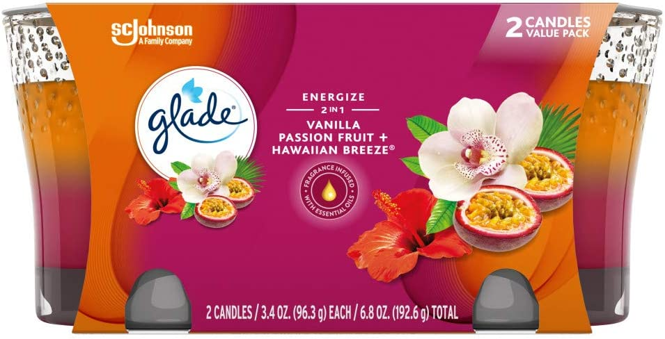 Glade 2in1 Jar Candle Air Freshener, Hawaiian Breeze & Vanilla Passion Fruit, 2 Candles, 6.8 oz