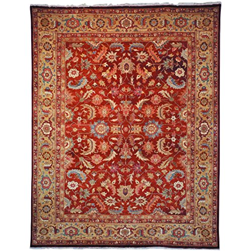(Safavieh Samarkand Collection SR805A Hand-Knotted Rust and Light Gold Wool Area Rug (9' x 12'))