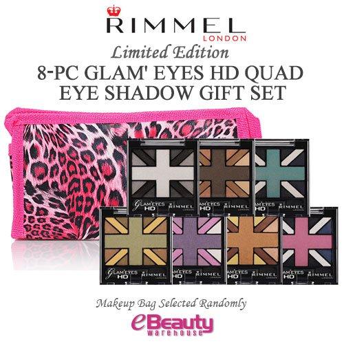 8PC GIFT SET- RIMMEL LONDON Glam' Eyes HD Quad Eye Shadow ()