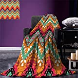 smallbeefly Tribal Digital Printing Blanket Hand Paint Ethnic Zigzag Pattern with Africa Effects Brushstrokes Summer Quilt Comforter Marigold Sea Green Pink White