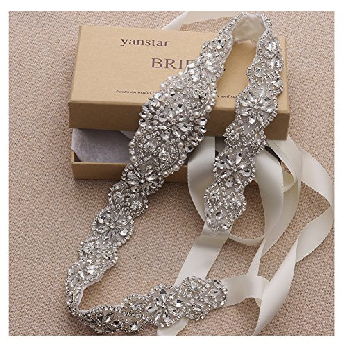 (Yanstar Handmade Crystal Beads Rhinestone Bridal Wedding Belt Sash With Cream Ivory Ribbon For Bridal Wedding PartyGowns Dress)