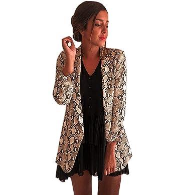4d0ad2d258ec5 Blousons Femmes Manteau Costume à Manches Longues Imprimé Serpent Blazer  Veste De Motard Outwear Hauts LONUPAZZ