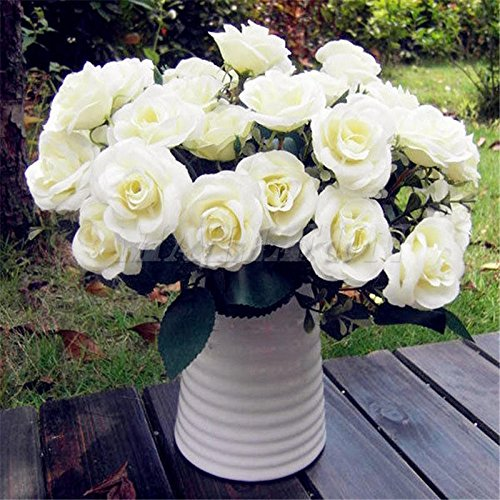 MAZIMARK--12Head Artificial Fake Roses Silk Flower Wedding Party Bridal Bouquet Home - Outlet Charlotte In Stores Nc
