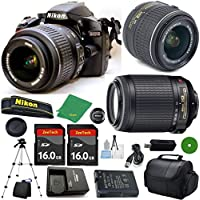 Nikon D3200 - International; Version (No Warranty), 18-55mm f/3.5-5.6 DX VR, Nikon 55-200mm f4-5.6G VR, 2pcs 16GB Memory, Camera Case