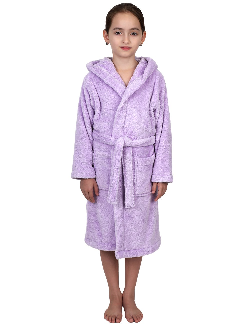 TowelSelections Big Girls' Robe, Kids Plush Hooded Fleece Bathrobe Size 12 Lavender