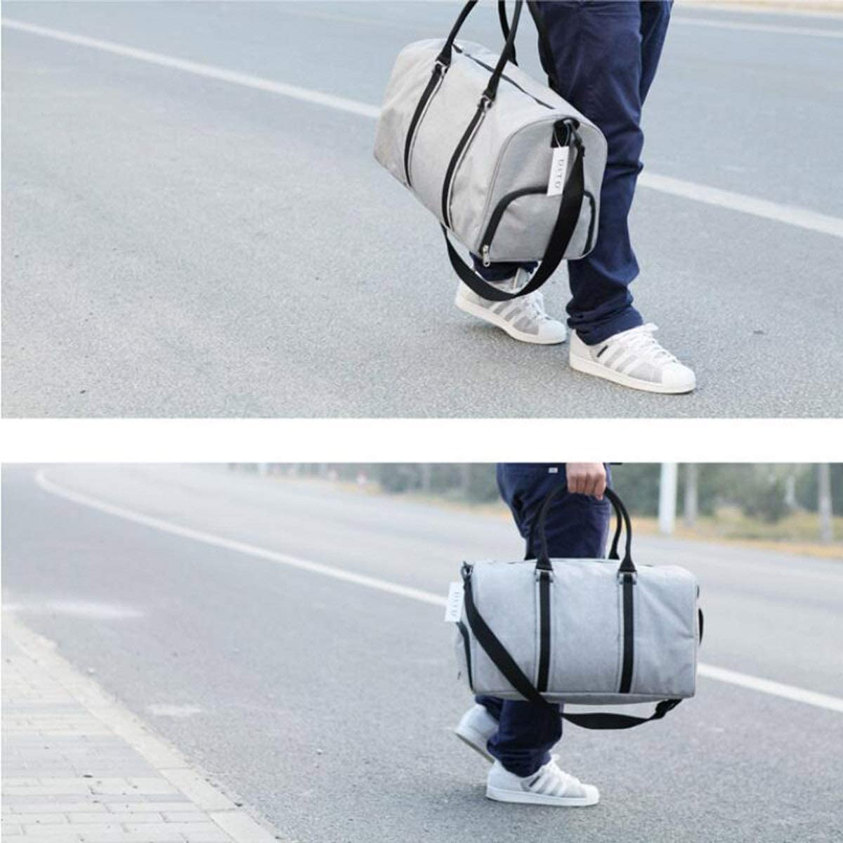 Black Large Size: 50 Large-capacity Gym Bag ZHICHUANG Duffel Bag Mens And Womens Travel Bag Large-capacity Duffel And Leisure Handbag Mens Short-distance Travel Bag Independent Shoe Warehouse