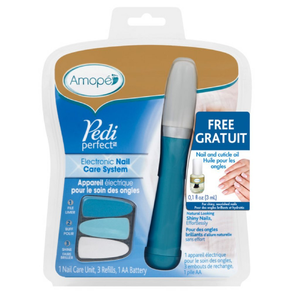 Amopé Pedi Perfect Electronic Nail File, 1 Count, with Nail Oil Sample (Pack of 9)