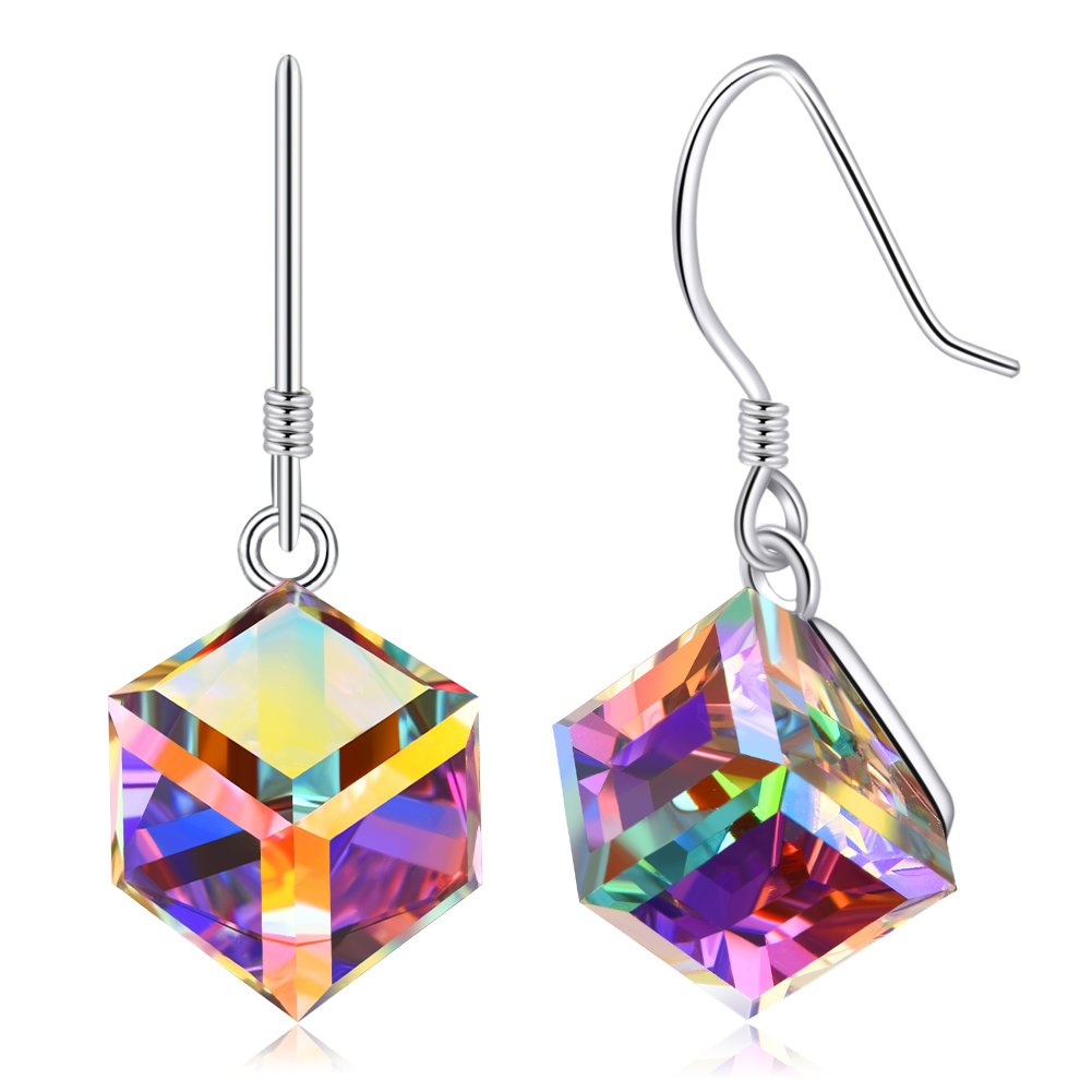 Color Changing Swarovski Crystals Jewelry, Cat Eye Jewels S925 Sterling Silver Swarovski Elements Crystals Pendant Necklace Earrings (Ocean Blue and Pink) N002-SW001