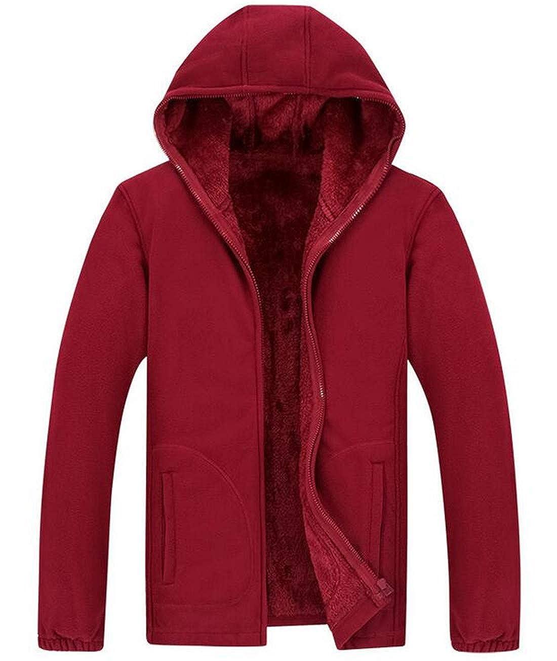 Nanquan Men Coat Hoodie Outwear Zip Front Warm Fleece Lined Sweatshirt