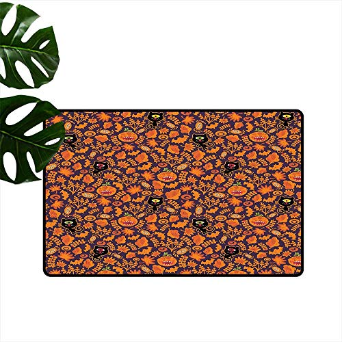 PEONIY&HOME Vintage Halloween,Funny doormats Halloween Themed Elements on a Purple Background Scary Mosters Printing Non-Slip Floor Mat W 20