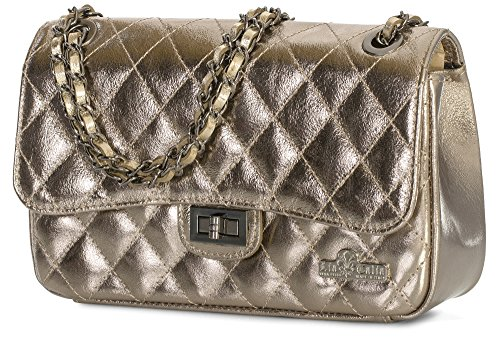 Metallic Evening Womens Pewter CAROL Italian Bag Purse Medium Leather Party LIATALIA Quilted Ladies Clutch Genuine UHZHq