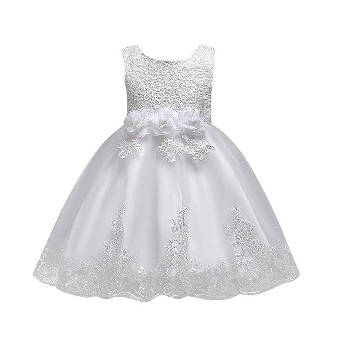 ️Vestido Niñas de Tul Flores Princesa Boda Vestido Sin mangas para Bebé Niña Lonshell ❤️Vestido