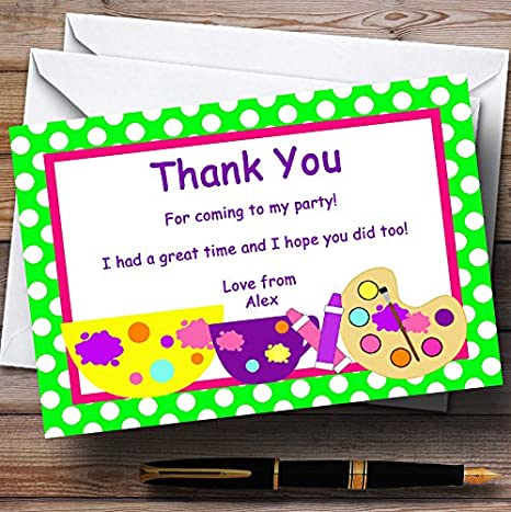 Arts And Crafts Polkadot Personalized Birthday Party Thank You Cards
