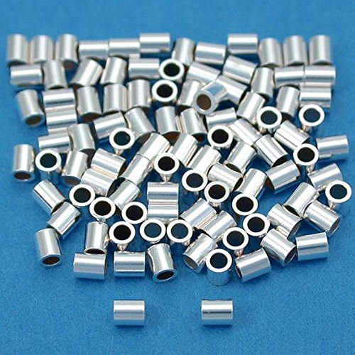 100 Sterling Silver Crimp Beads Micro Beading 1.5mmx2mm