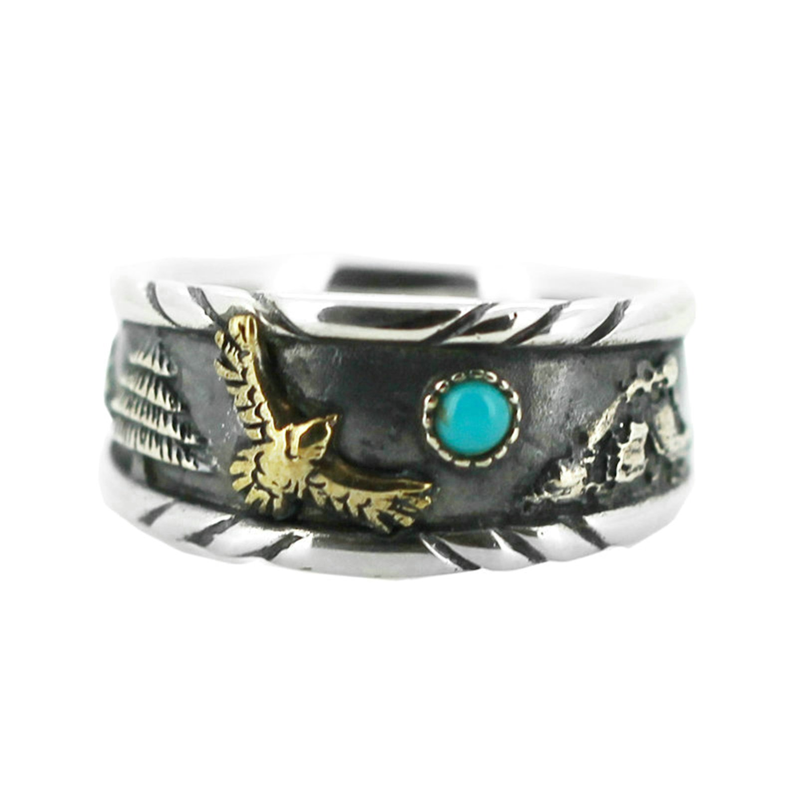 Beydodo Mens Silver Ring, Eagle Turquoise Ring Size 10 Men Silver Ring Band
