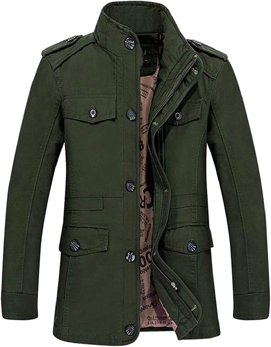 M/&S/&W Men Stand up Collar Slim Outerwear Trench Coat Plus Size Stylish Overcoat