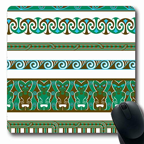 Ahawoso Mousepads for Computers Polynesian Blue Hawaiian Maori Ocean Abstract Border Teal Brown Tiki Koru Pacific Pattern Design Oblong Shape 7.9 x 9.5 Inches Non-Slip Oblong Gaming Mouse Pad