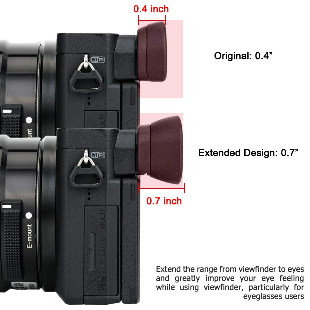JJC FDA-EP17 Eyecup Eyepiece Eyeshade for Sony a6600 a6500 a6400 Viewfinder Replaces Sony FDA-EP17 Eye Cup Soft Silicone Extended Design