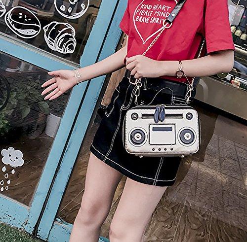 Bolso Hombro Bolso de Decoración Mujer Plateado Mano Crossbody de de Onfashion Bolso con Shoulder de para PU Mano Bolso Blanco Cadena ngqnYf4w
