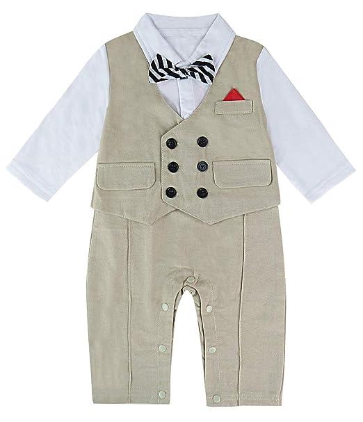 14601e110bb8 A&J Design Uno-Pedazos de los bebés Romper el Smoking con el Bowknot para el
