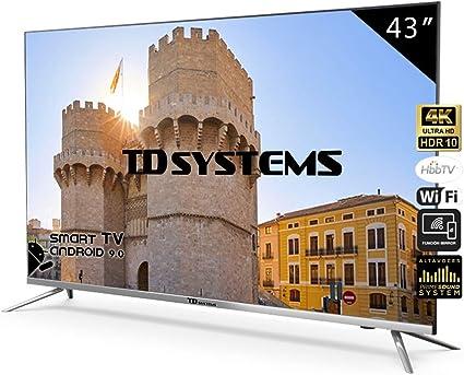 Television Smart TV 43 Pulgadas 4K, Android 9.0 y Hbbtv, UHD HDR10 ...