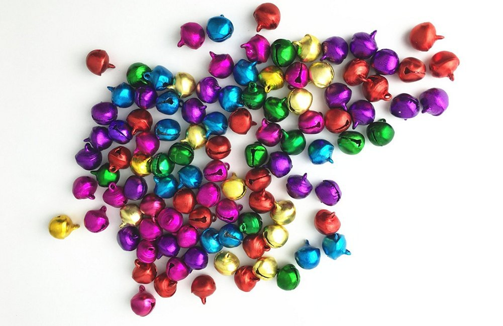Da.Wa 100 Unids Tintineo Campana de Color Mezclado Artesan/ía DIY Jingle Bells Toy Making Decoraci/ón 10mm