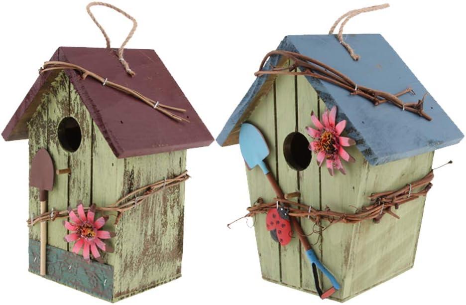 2 Piezas Casa de Pájaros Colgantes Decorativa, Hotel de Insectos para Balcón del Jardín, Patio - Estilo Rural, Regalos para Hogar