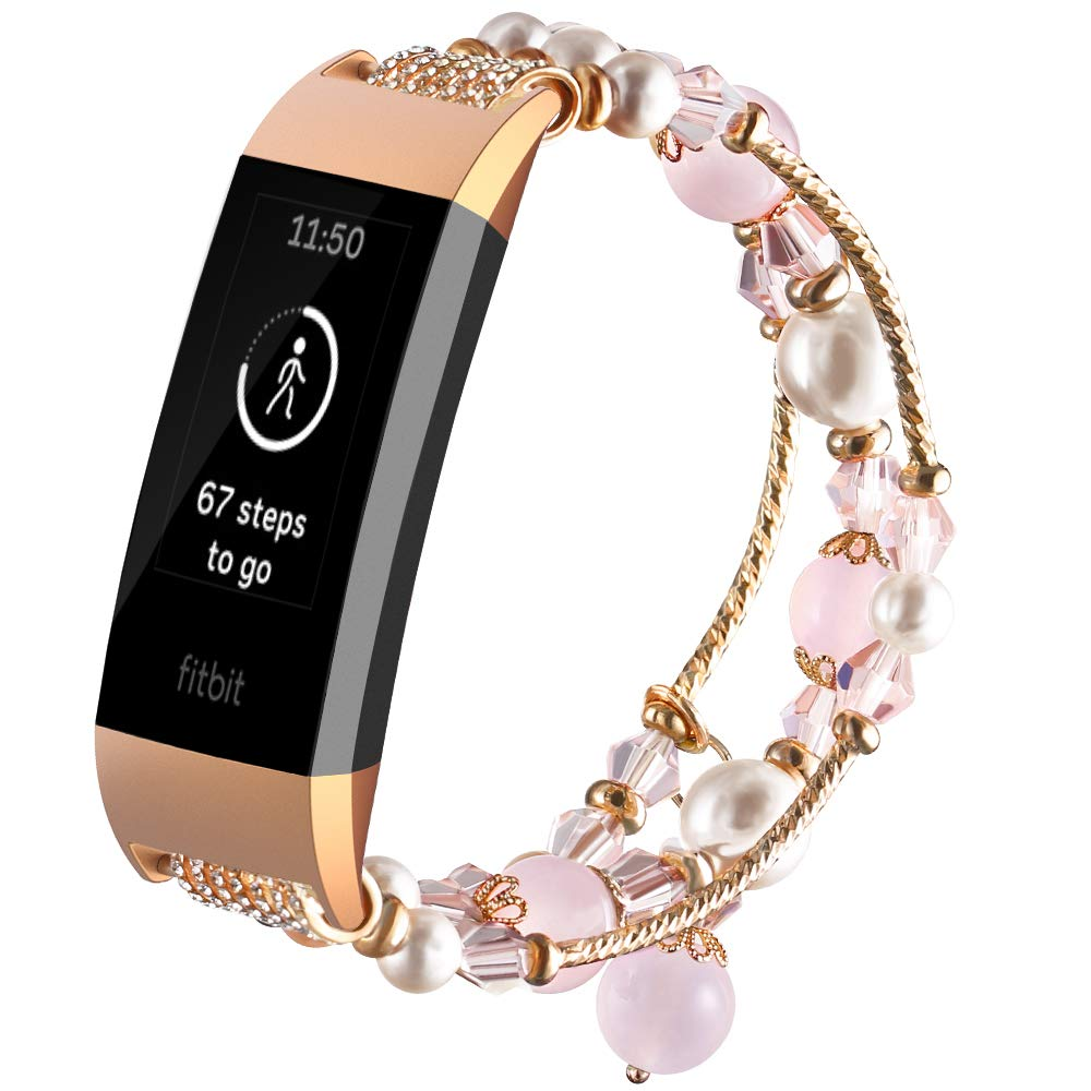 Gaishi Band Compatible with Fitbit Charge 3, Women Girls Female Fashion Replacement Bracelet with Elastic Stretch Handmade Beaded Pearl Band with Metal Adaptor Replacement for Charge 3 SE, Rose Pink