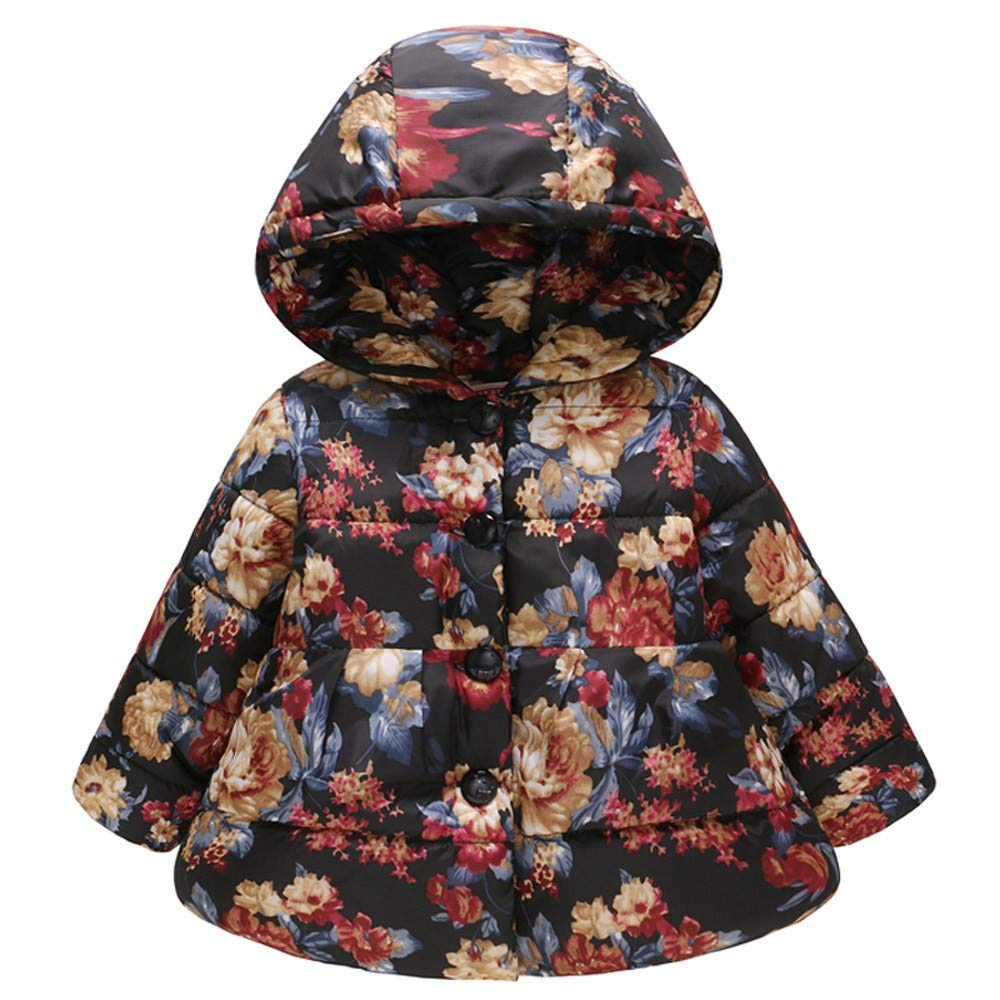 Toddler Baby Girls Boys Floral Winter Thick Warm Jacket Hooded Windproof Coat