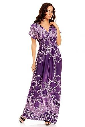 a77583093487d Mia Suri Long Casual Ladies Maxi Summer Holiday Short Sleeved Kimono Beach  Sun Dress Elastic Waist UK 16 18 L Purple Vine Leaves: Amazon.co.uk:  Clothing