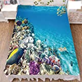 iPrint Bed Skirt Cover 3D Print,Animal World Corals Tropical Fishes and Stingra,Fashion Personality Customization adds Color to Your Bedroom. by 47.2''x78.7''