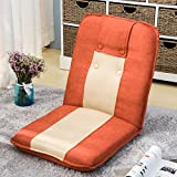 Cheap Harper&Bright Designs Padded Floor Chair with Adjustable 5-Position Backrest Folding Lazy Sofa Floor Chair (Orange&Beige-Linen&Mesh fabric)