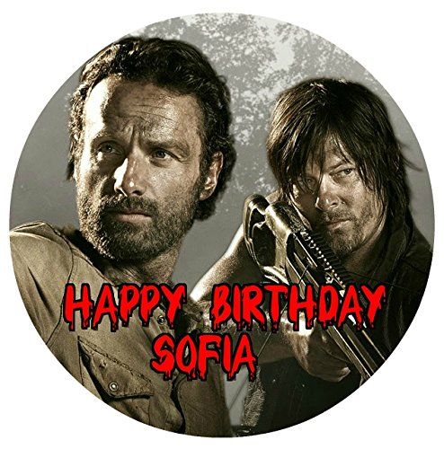 """The Walking Dead TWD Daryl Rick Grimes Personalized Customized Edible Image Photo Sugar Frosting Icing Cake Topper Sheet Birthday Party - 8"""" Round - 14788"""
