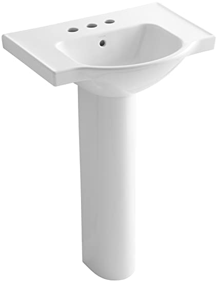 KOHLER K 5266 4 0 Veer Pedestal Bathroom Sink With 4 Inch
