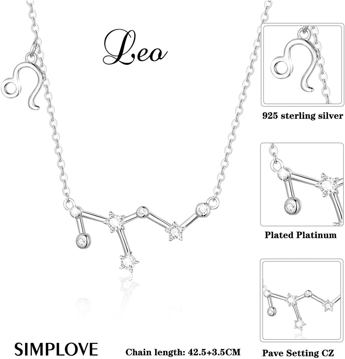 SIMPLOVE 12 Constellation Pendant Necklace 925 Sterling Silver Horoscope Zodiac Sign Birthday Necklace for Women Gift Jewelry 16.5+1.2