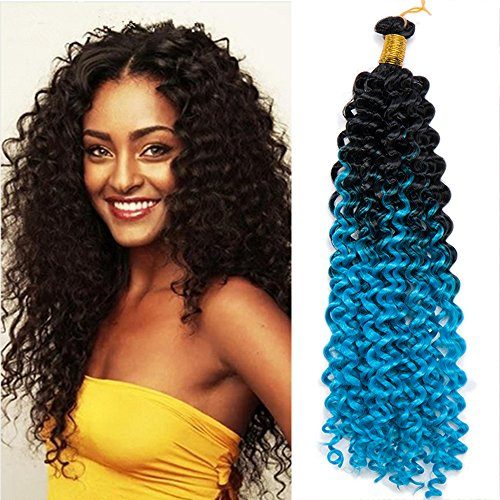 "Price comparison product image S-noilite Water Wave Synthetic Hair Bundles Crochet Braiding Hair Extensions Afro Kinky Twist Braids Dreadlocks Faxu Locs for Black Beauties Black Women (15""-1pack/lot, Black to Sky Blue)"