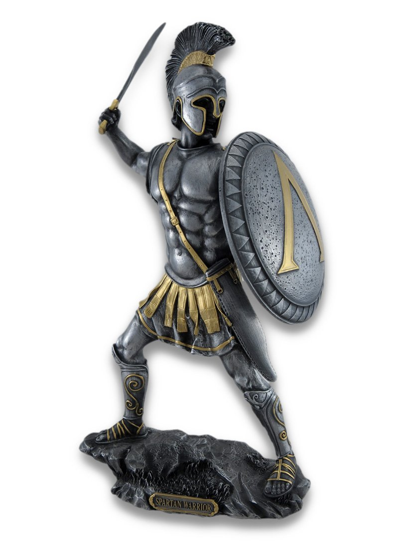 Veronese Design Spartan Warrior with Sword and Hoplite Shield Statue Silvered Gold Accents
