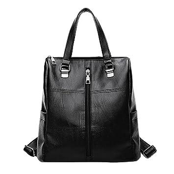 👜 Bolso de Escuela de Cuero de la Vendimia Mochila Satchel Mujer Bolsas de Viaje (Black): Amazon.es: Equipaje