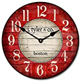 Boston Harbor Red Wall Clock, Available in 8 sizes, Most Sizes Ship 2 - 3 days, Whisper Quiet.