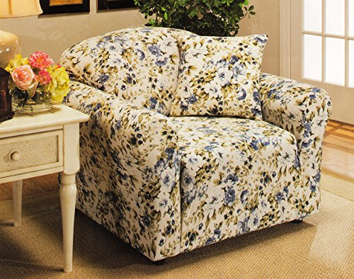 Madison Stretch Jersey Chair Slipcover, Floral, Blue (Floral Chair Slipcover)