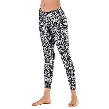 ZCJB Pantalones Yoga Mujer Leggings de Leopardo con Bolsillos Ropa ...